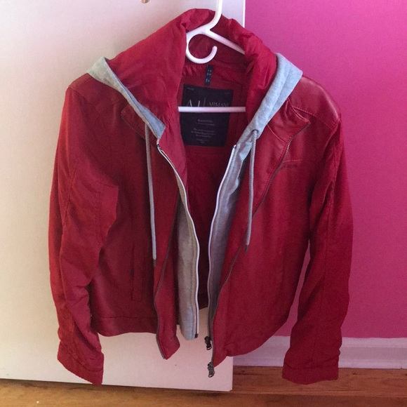 5d2554638 Men's Armani Jeans red leather jacket worn once